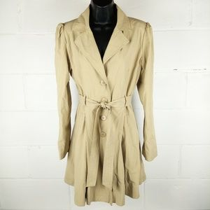 Maurices Trench Coat Women Size M Tan
